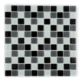 Placa Pastilha Vidro Parede 30cm X 30cm Branco/cinza/Preto