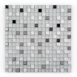 Placa Pastilha Vidro Parede 30cm X 30cm Branco/Prata