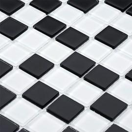Placa Pastilha Vidro Parede 30cm X 30cm Branco/Preto