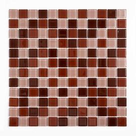 Placa Pastilha Vidro Parede 30cm X 30cm Rosa/Vermalho/Vinho