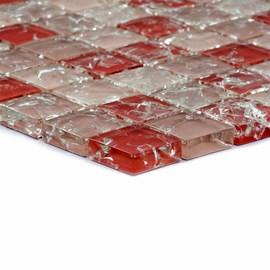 Placa Pastilha Vidro Parede 30cm X 30cm Vermelho/Craquelado