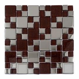 Placa Pastilha Vidro Parede 30cm X 30cm Vermelho/Espelho