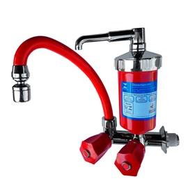 Torneira Cozinha Bica Movel C/ Filtro Purificador Vermelha