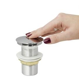 Valvula Click Inox Com Sifao e Engate Para Cubas Rosca 4 Cm